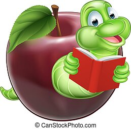 Bookworm concept - A happy smiling cute green cartoon...