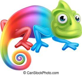 Cartoon Rainbow Chameleon - A cute cartoon rainbow coloured...