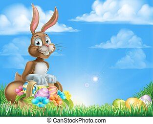 Easter Bunny Egg Hunt - Cartoon easter scene Easter bunny...