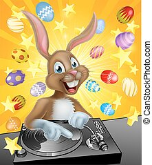 Easter Bunny DJ - Cartoon Easter bunny DJ playing music at...