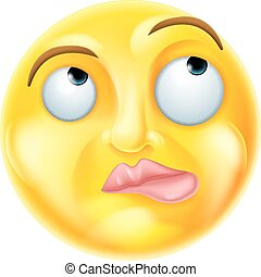 Thinking Emoji Emoticon - A thinking cartoon emoji emoticon...