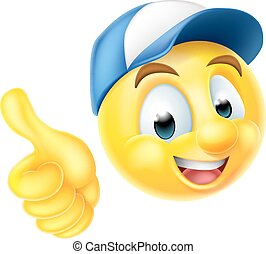Emoji Emoticon Worker Giving Thumbs Up - Cartoon emoji...