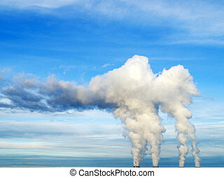 Steam from pipes of nuclear station
