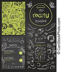 Restaurant Food Menu set Vintage Design with Chalkboard -...