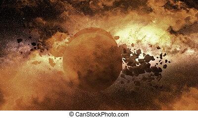 Planet - moon - asteroid field