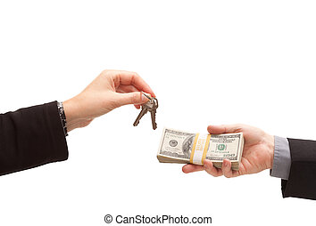 Handing Over Cash For Keys Isolated on a White Background.