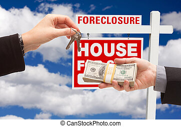 Handing Over Cash For House Keys in Front of Foreclosure...