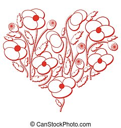 Poppy flowers heart shape - Celebration folk floral...