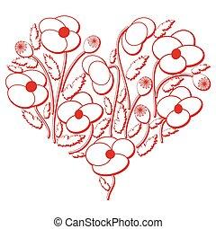 Poppy flowers heart shape.