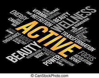 ACTIVE word cloud, fitness, sport, health concept