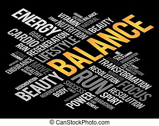 BALANCE word cloud, fitness, sport, health concept