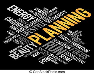 PLANNING word cloud, fitness, sport, health concept