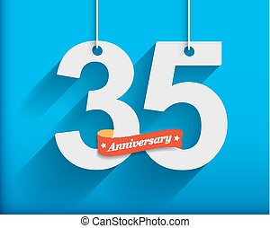 35 Anniversary numbers with ribbon. Flat origami style with...