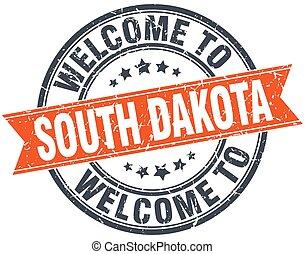 welcome to South Dakota orange round ribbon stamp