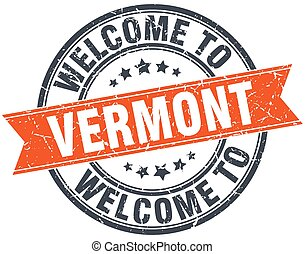 welcome to Vermont orange round ribbon stamp