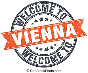 welcome to Vienna orange round ribbon stamp