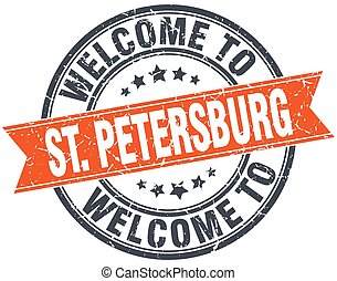 welcome to St Petersburg orange round ribbon stamp