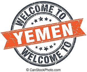 welcome to Yemen orange round ribbon stamp