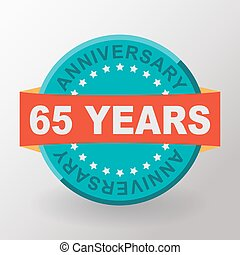 65 Anniversary label with ribbon. Flat design.