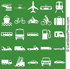 Transport Related Graphics - Silhouette transport and travel...