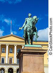 estátua, rei, Carl, Johan, XIV, em, Oslo,
