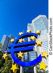 Euro sign in Frankfurt - FRANKFURT, GERMANY - JULY 9: Euro...