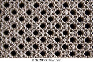 window lattices made from carved wood