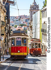 Lisbon tram - Vintage tram in the city center of Lisbon in a...