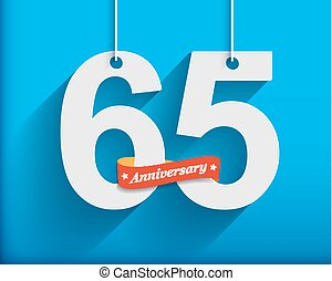 65 Anniversary numbers with ribbon Flat origami style with...