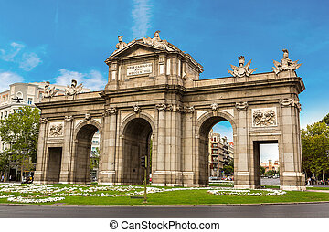 Puerta de Alcala in Madrid in a beautiful summer day, Spain