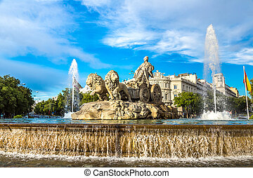 Cibeles fountain in Madrid - Cibeles fountain at Plaza de...