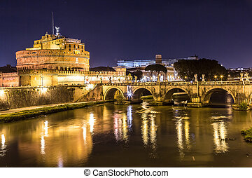 Castel Sant Angelo in Rome, Italy at night