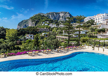 Capri island in Italy - Pool on a Capri island in a...