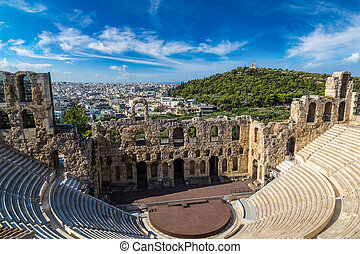 Ancient theater in Greece, Athnes - Ancient theater in a...