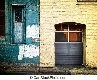 Two tones, green and yellow, with two doors. Large and small.