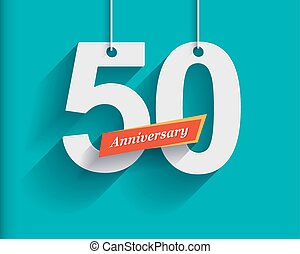 50 Anniversary numbers with ribbon. Flat origami style with...