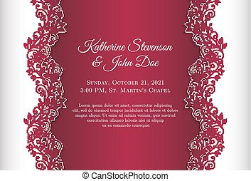 Red wedding invitation with luxury floral lace border on...