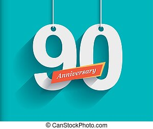 90 Anniversary numbers with ribbon Flat origami style with...