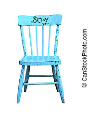 old blue wooden child's chair