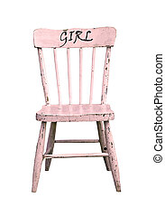 Vintage pink child's wooden chair