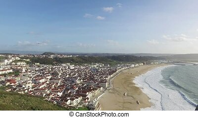 Top View in the Portuguese Town of Nazare, motion