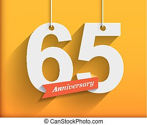 65 Anniversary numbers with ribbon. Flat origami style with...