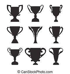 Winner Trophy Cup Silhouette Set.