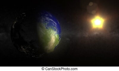 (1158) Earth Space View from North Pole Day Night City Lights Rotation