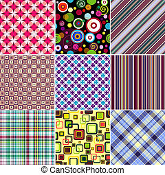 Set seamless patterns - Set colorful geometric seamless...