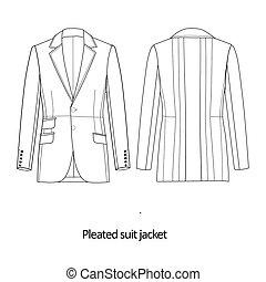 Man suit jacket - Flat fashion sketch template - Man suit...