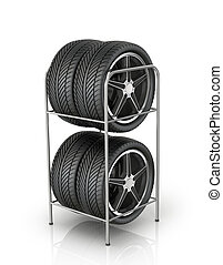 Four automobile wheels at the front on a white background