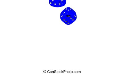 Blue Dice On White Background. 3D render Animation. Isolated...