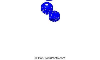 Blue Dice On White Background 3D render Animation Isolated...