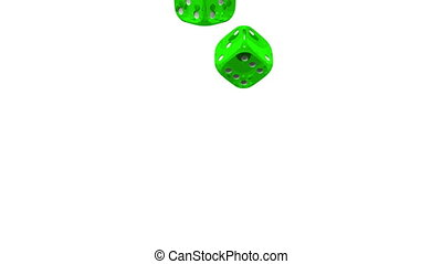 Green Dice On White Background 3D render Animation Isolated...